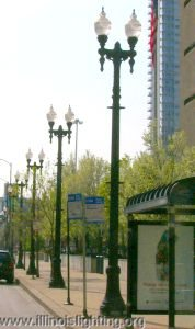 Torch-style streetlights in downtown Chicago.