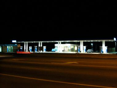 Gas station with attractive, responsible lighting.
