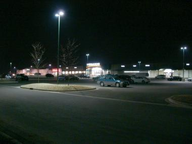 Mall parking lot with shielded light fixtures.