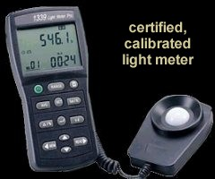 Light meter used to check illumination levels.