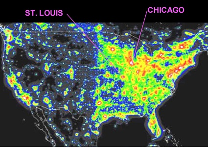 U.S. map showing light pollution levels.